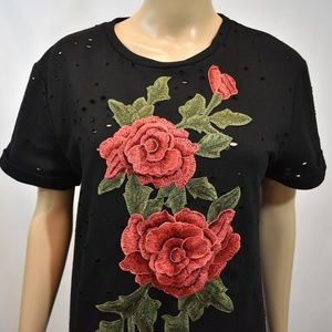 Destroyed Tee 3D Roses Embellishment